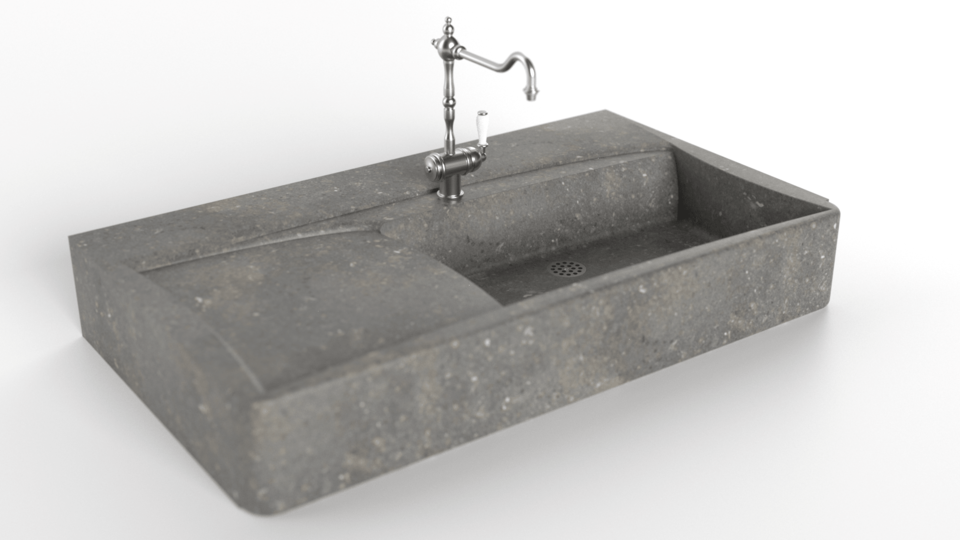 vue 3D evier de cuisine en pierre naturelle