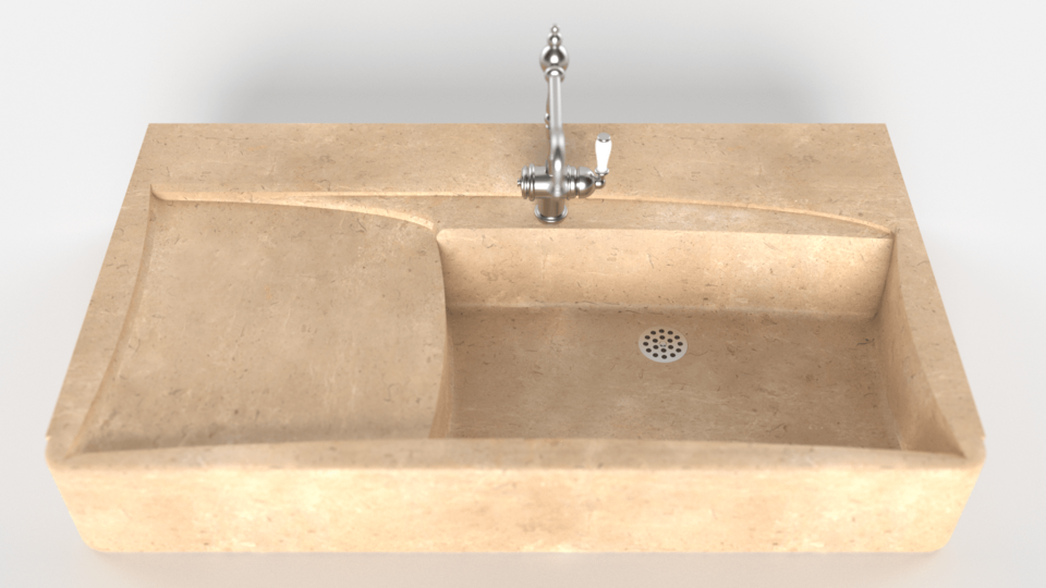 vue 3D evier de cuisine en pierre